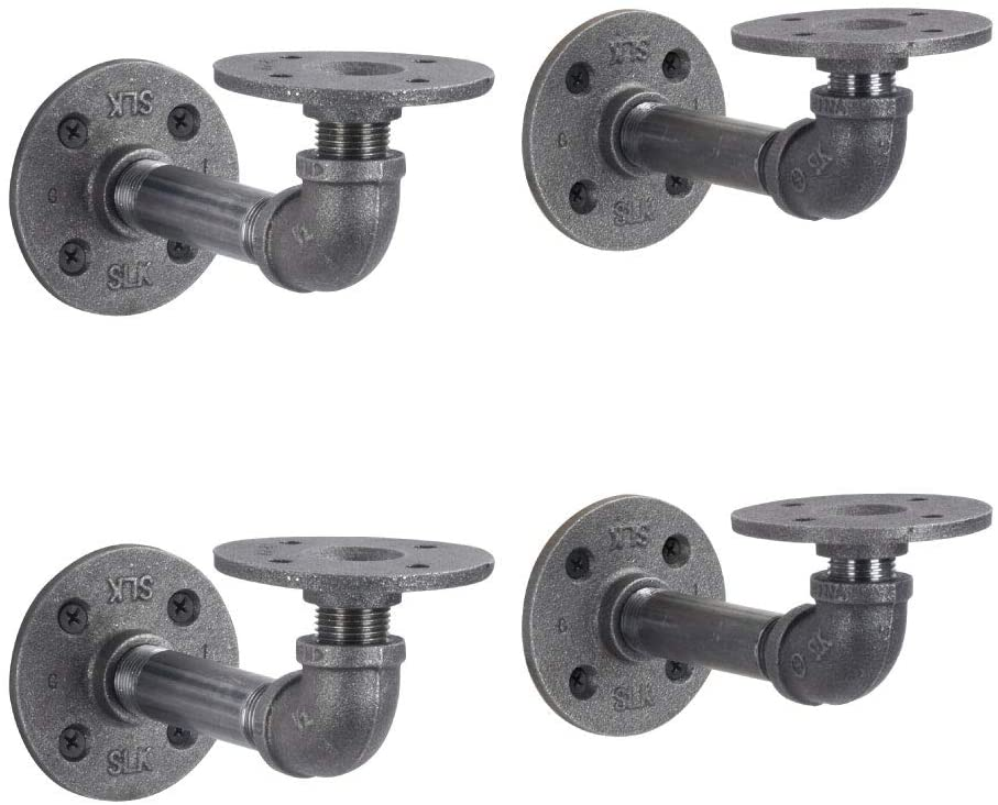 PIPE DÉCOR Industrial Pipe Shelf Brackets 4 Pack, Authentic Pipe Plumbing Fittings and Pieces, Wall Mounted Double Flange Floating Shelves, Rustic Bracket Set for Vintage Shelving Decor (4 Inch)