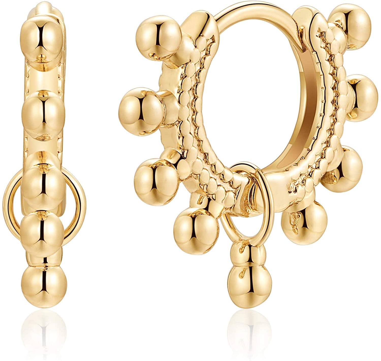 S925 Sterling Silver Post Huggie Hoop Earrings, 14K Gold Plated Dangle Small Hoop Cuff Earring Hypoallergenic Dainty Cubic Zirconia Snake Ball Spike Evil Eye Moon Star Huggie Hoop Earrings