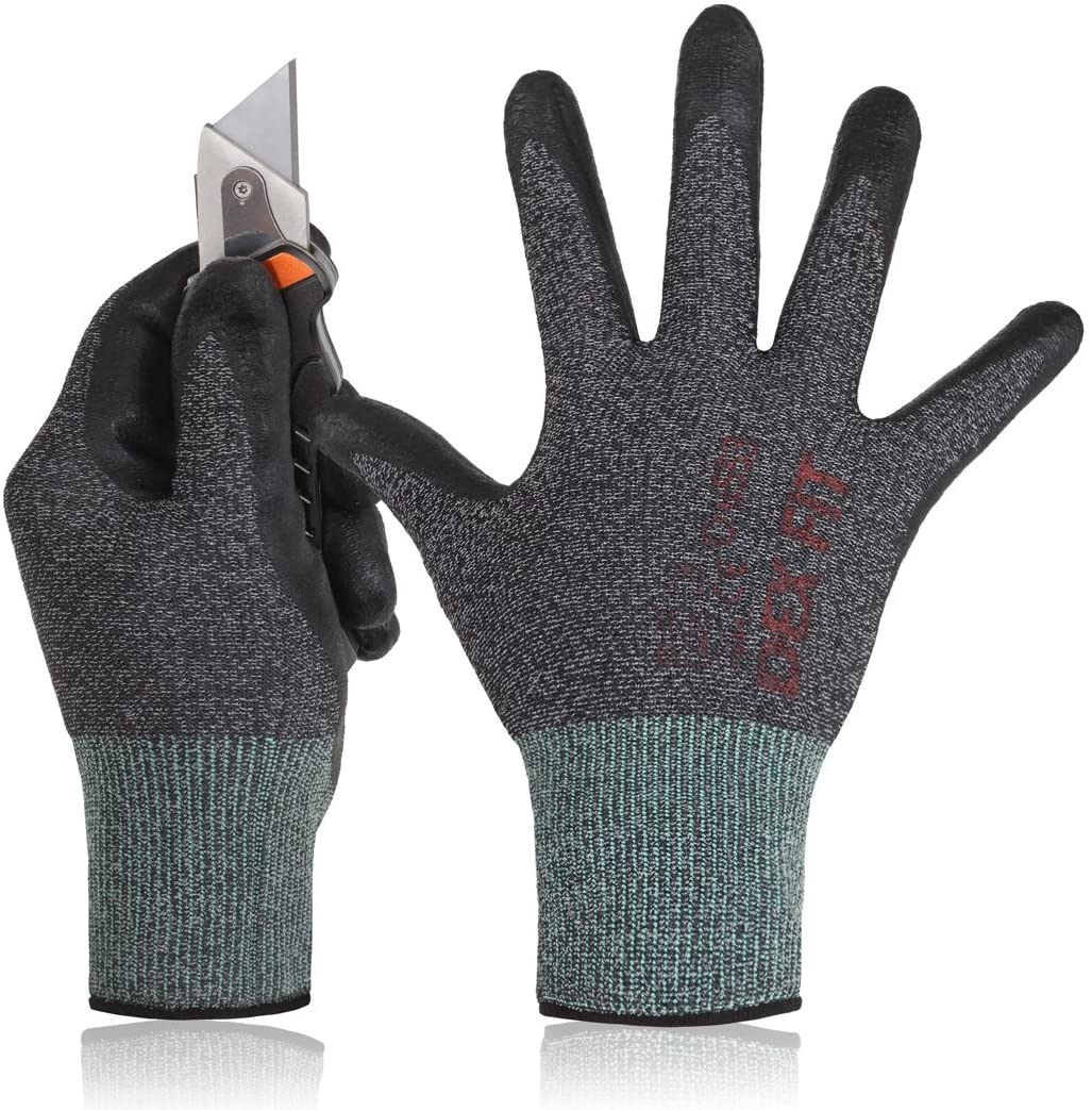 DEX FIT Level 5 Cut Resistant Gloves Cru553, 3D Comfort Stretch Fit, Power Grip Foam Nitrile, Smart Touch, Durable Thin & Lightweight, Machine Washable, Black Grey Small 1 Pair