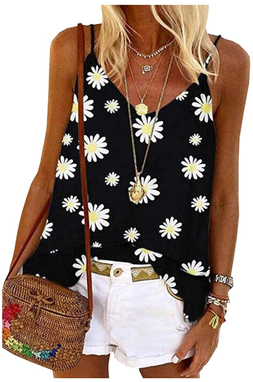 Women Daisy Floral Printed V-Neck Tank Top Adjustable Spaghetti  Strappy Sleeveless Camisole Causal Floral Graphic Vest Top