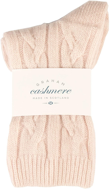 Graham Cashmere Women's Pure Scottish Cashmere Cable Bed Socks