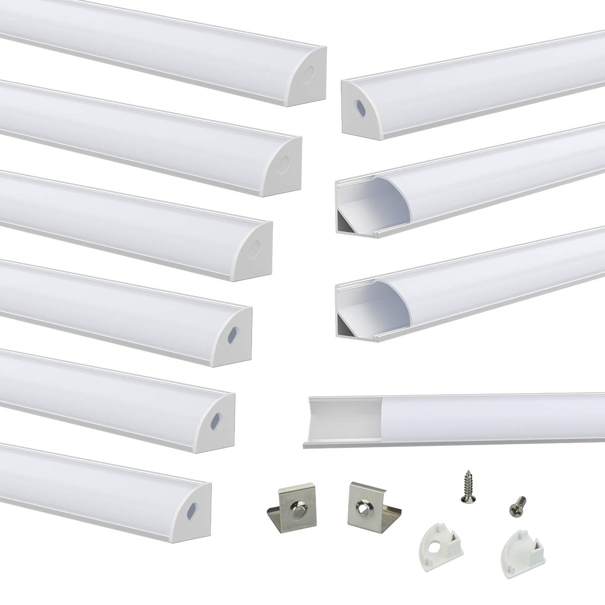 Muzata V-Shape LED Channel System with Milky White Cover Frosted Diffuser,Aluminum Extrusion Profile Housing Track for 3528,5050,5630 Strip Tape Lights V1SW 2M WW,LV1 LW1 L2M,10Pack 2M/6.6FT