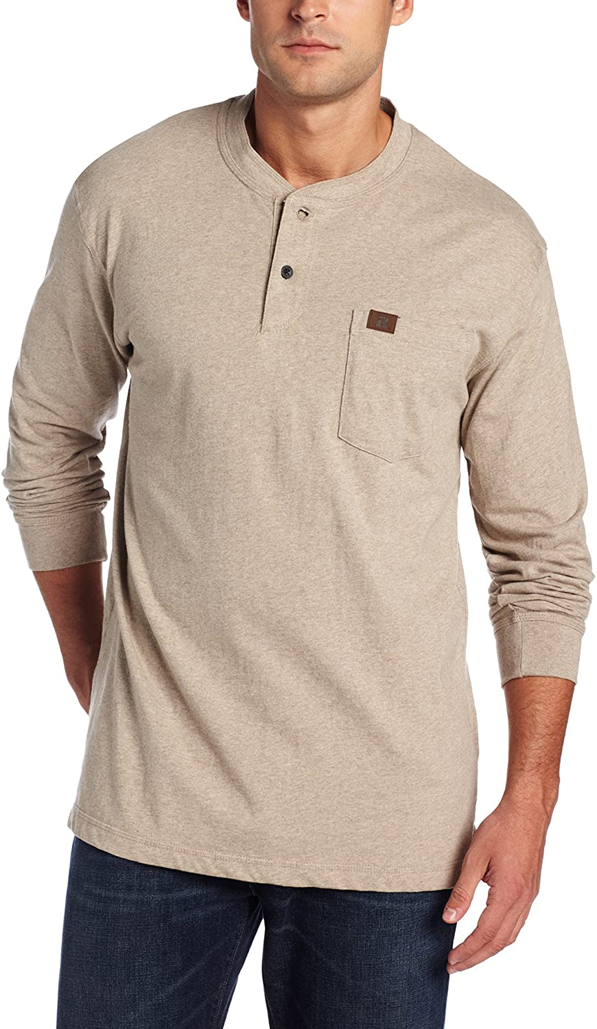 Wrangler Riggs Workwear Men's Long Sleeve Henley, Oatmeal Heather, X-Large