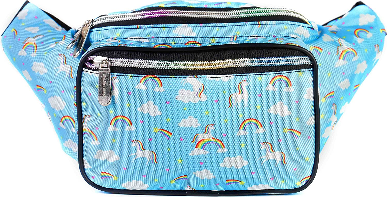 SoJourner Holographic Rave Fanny Pack - Packs for festival women, men | Cute Fashion Waist Bag Belt Bags (Unicorns & Rainbows)