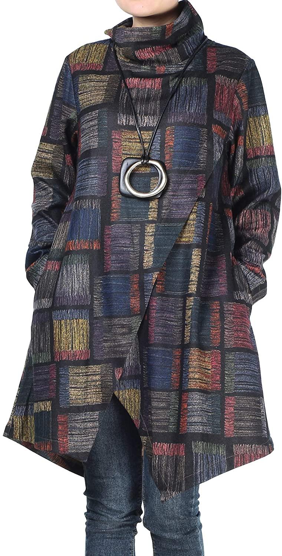 Mordenmiss Women's Plaid Tunic Tops Asymmetry Hem Long Sleeve Turtleneck Pullover