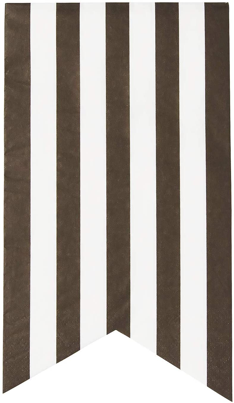 X&O Paper Goods Black and White Striped Table Napkins and Guest Towels 16pc, 4.75'' W x 8'' L