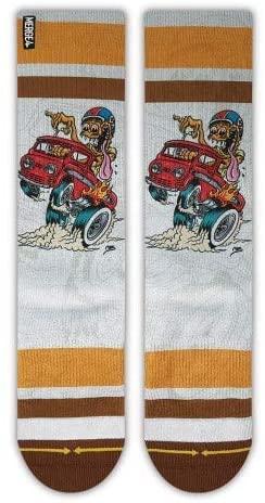Steve Caballero Econo Fink Adult Men's Crew White Orange Monster Artist Sock