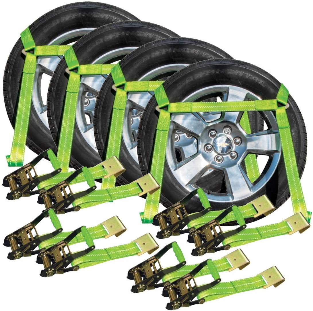 VULCAN Side Rail Auto Tie Down with Flat Hooks, 4 Pack - High-Viz - 3,300 Pound Safe Working Load