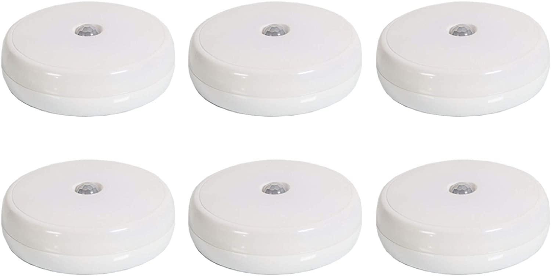 Brilliant Evolution Wireless LED Motion Sensor Light 6 Pack | LED Closet Light | Portable Battery Operated Light | Motion Activated Indoor Hallway Stair Light | Night Light | Wall Light