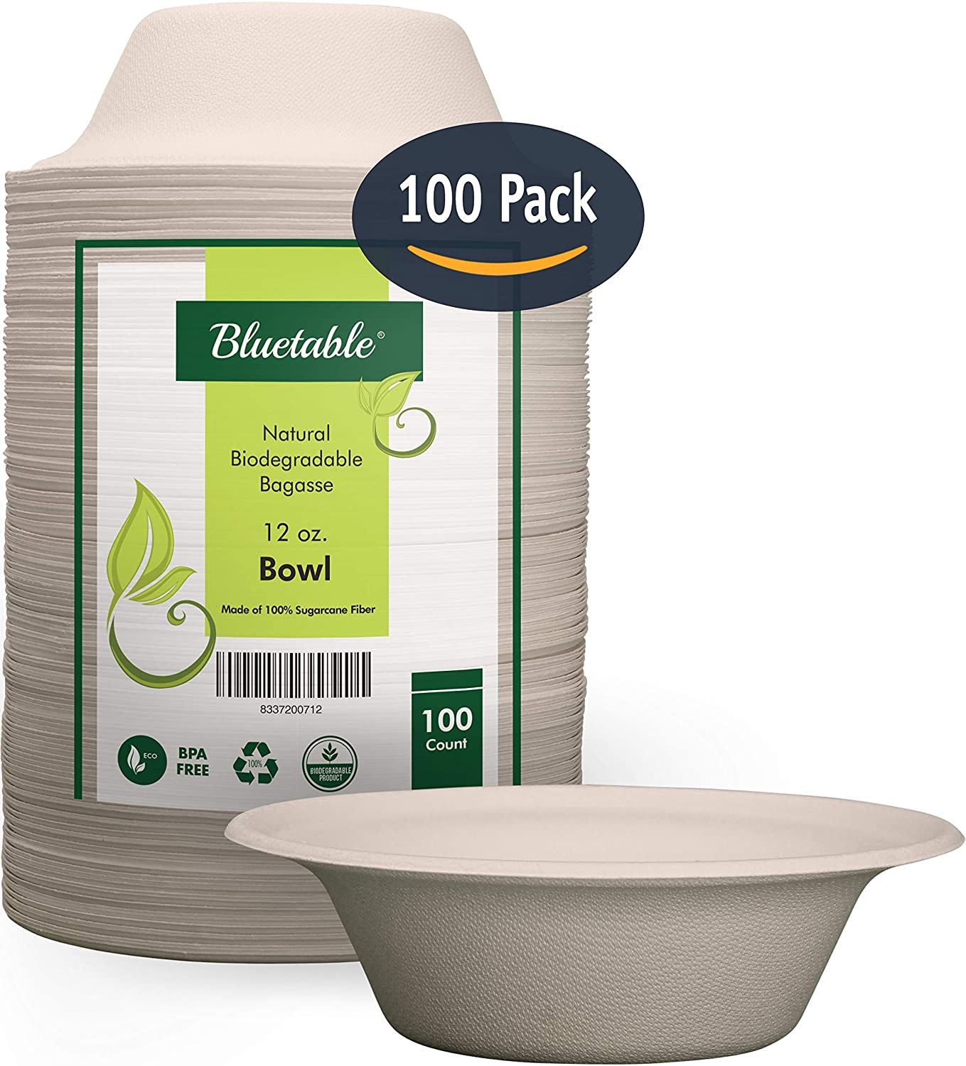 Compostable Bowls 12 Oz, Biodegradable Bowls – Made from 100% Sugarcane, Disposable Eco Friendly bagasse bowls, Natural Disposable Paper Bowls - by Bluetable [100 Pack]