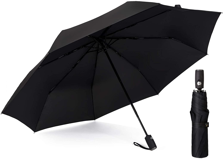 Kobold Automatic Open/Close Compact Umbrella with Teflon Coating (Black)
