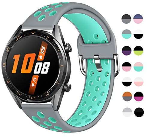 Sport Band Compatible with Samsung Galaxy Watch 46mm/Huawei Watch GT 2/Samsung Gear S3 Classic/Samsung S3 Frontier 22mm Quick Release Silicone Sport Watch Strap US902 (Color#12,Size Small)
