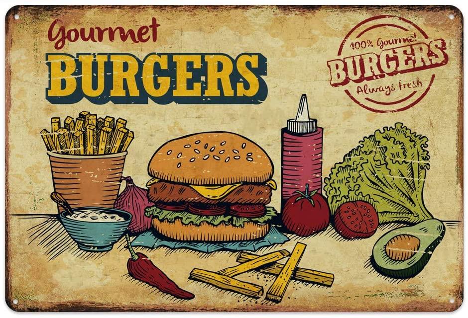 Original Vintage Design Tin Metal Wall Art Signs, Hamburger Thick Tinplate Print Poster Wall Decoration…