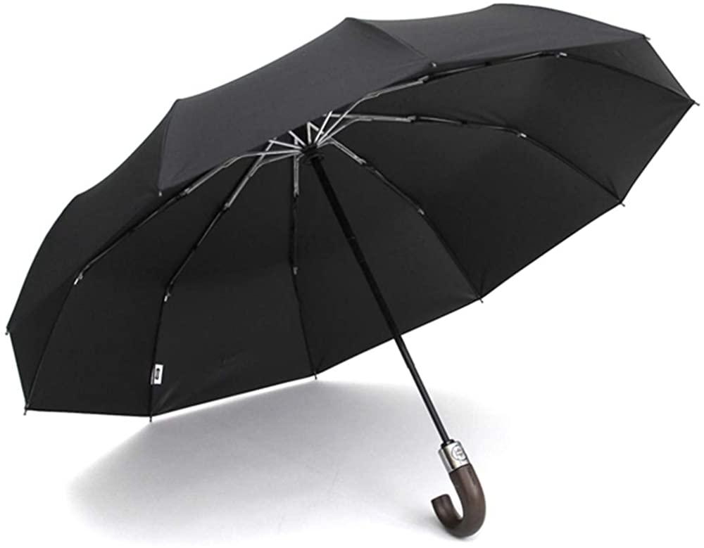 PARACHASE Automatic Folding Umbrella Men Women 10K Strong Windproof Rain Umbrellas Anti UV Sun Protection Wooden Handle