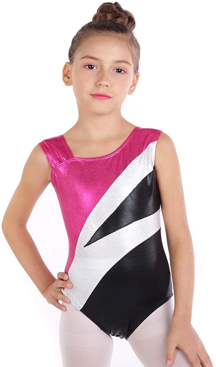 Gymnastics Leotards for Girls Sparkle Shiny Athletic Tank Top Dance Ballet Unitard Biketard Ribbon Dancewear Activewear