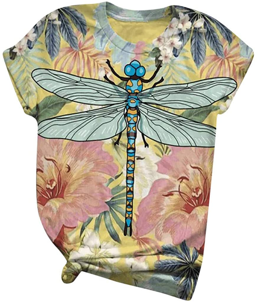 F_topbu T Shirts for Women, O Neck Short Sleeve Blouses Dragonfly Printed Tops Summer Casual Shirts Tunic Tops