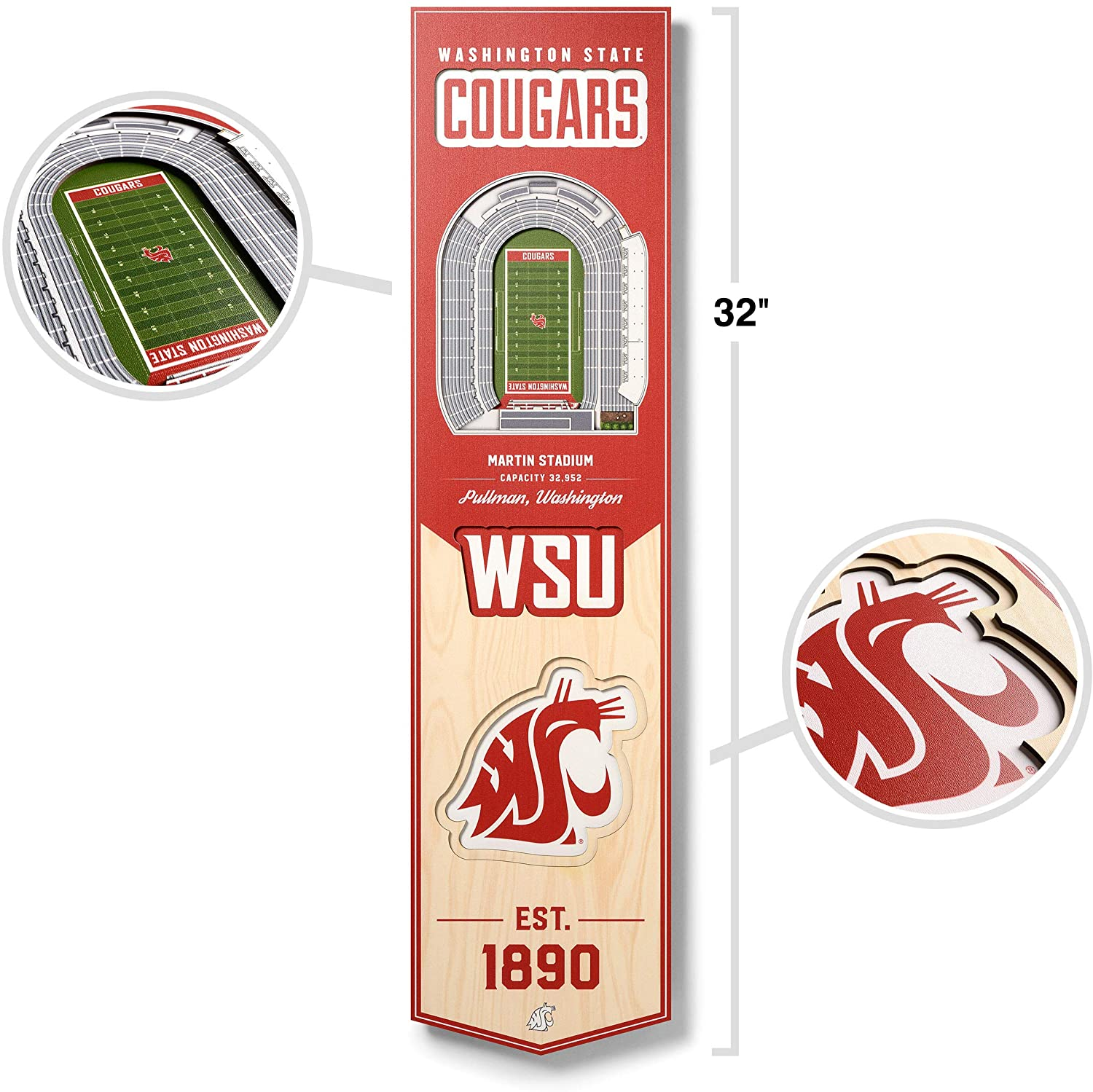 YouTheFan NCAA 3D Stadium Banner, 8 x 32 Inches