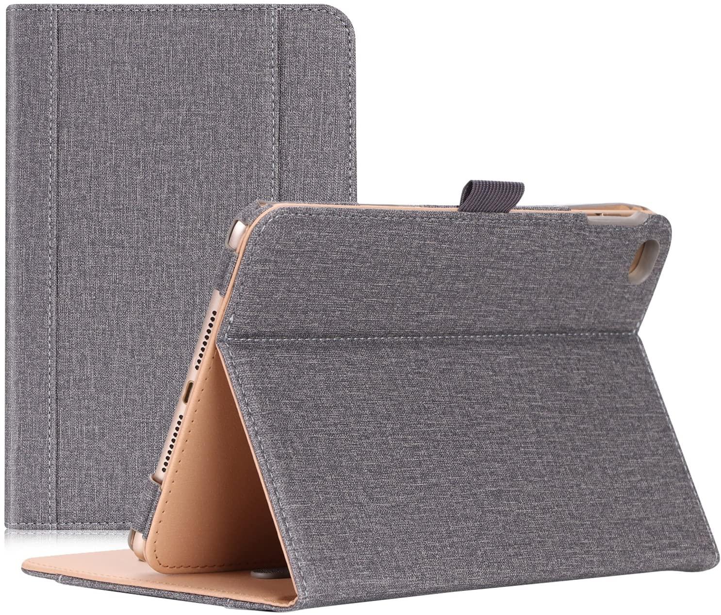 Procase iPad Mini 4 Case - Leather Stand Folio Case Cover for 2015 Apple iPad Mini 4 (4th Generation iPad Mini, mini4), with Multiple Viewing Angles, auto Sleep/Wake, Document Card Pocket (Grey)