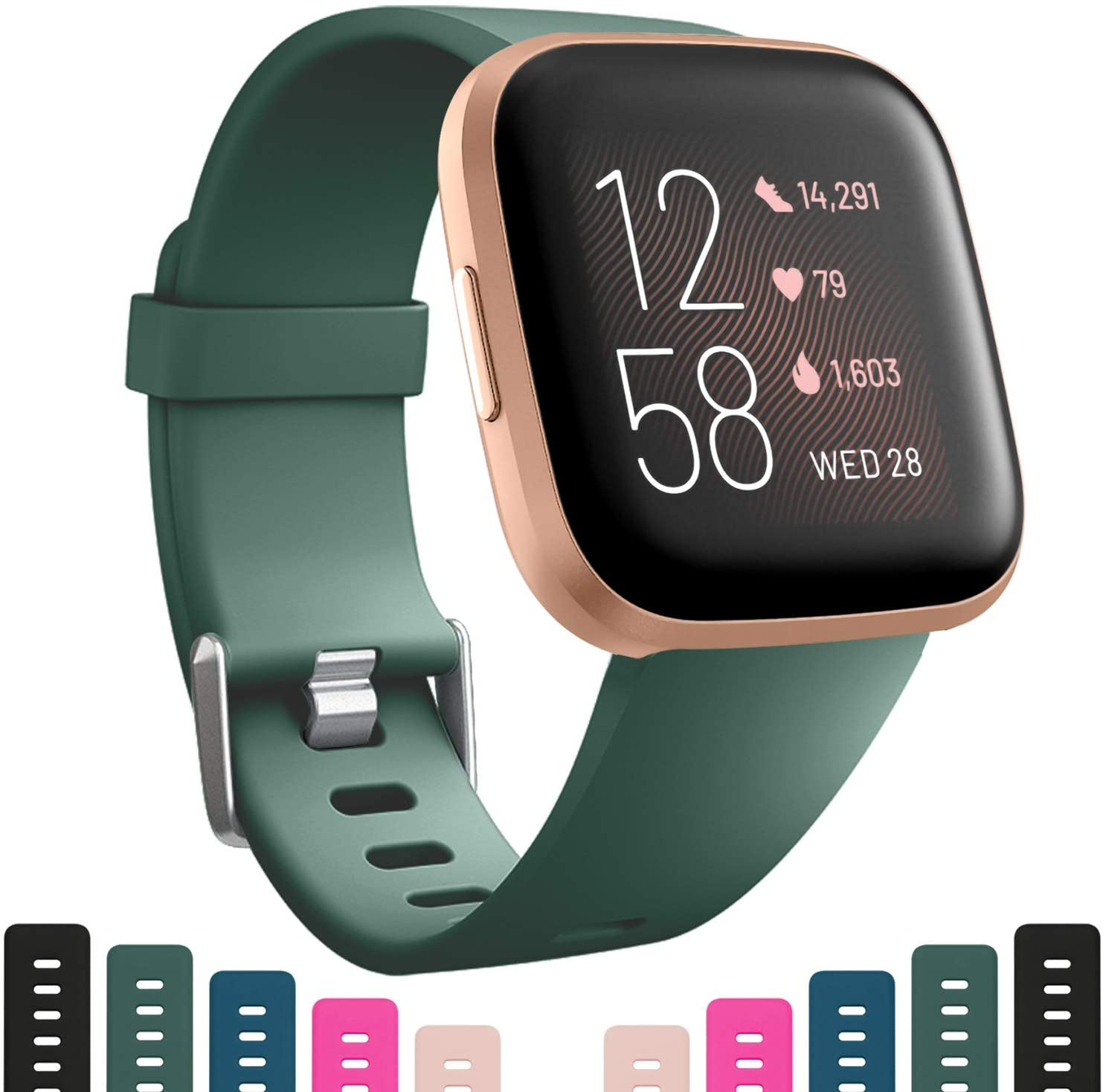 Bands Compatible with Fitbit Versa 2 / Versa/Versa Lite/Versa Special Edition, Soft Sillicone Strap Replacement Sport Wristbands Accessories for Women Men, Large Pine Green
