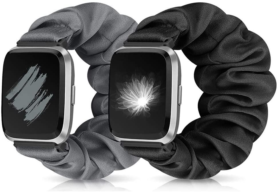 Runostrich Scrunchie Elastic Watch Strap Women for Fitbit Versa/Versa 2/Versa Lite/SE, Floral Breathable Replacement Band Scrunchy Wristband Bracelet Accessories (O+P Black+Grey, L)