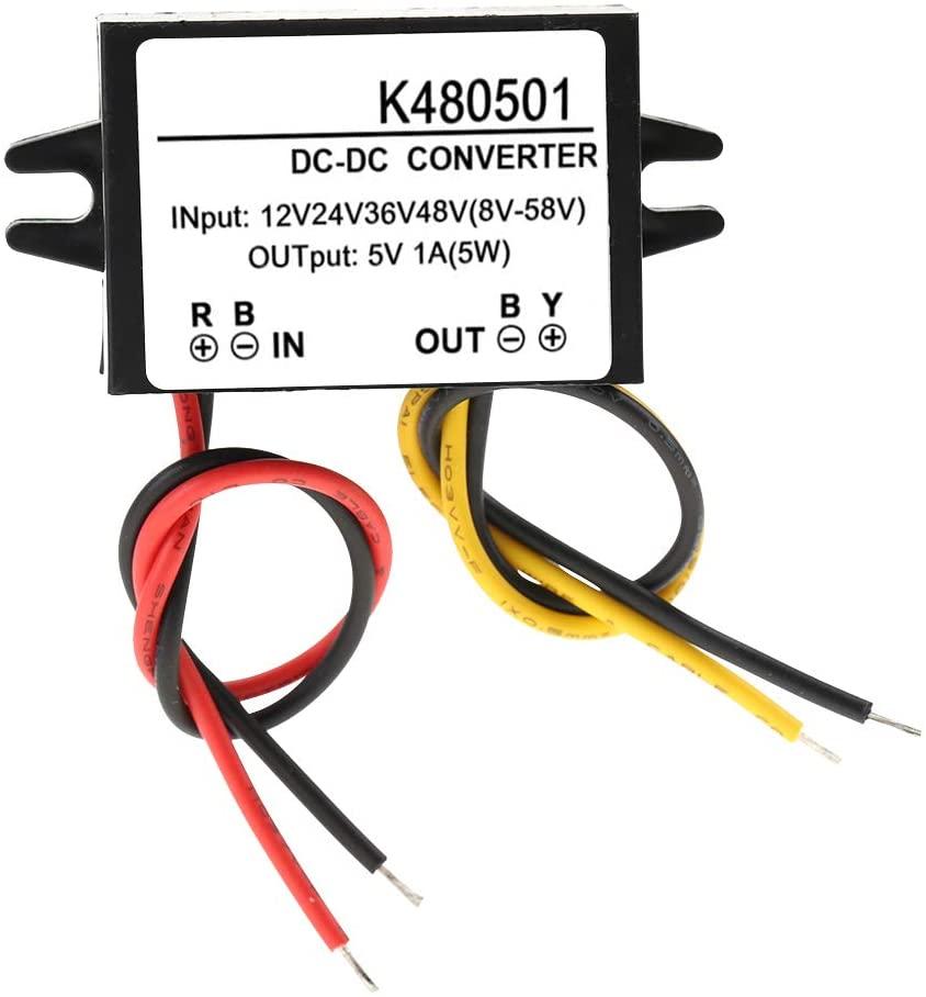 iFCOW Power Converter DC-DC 12V/24V/36V/48V to 5V 1A Power Converter Step Down Power Supply Module