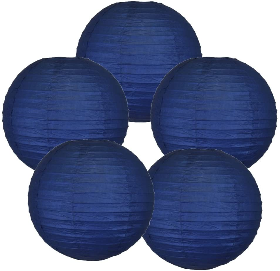 Just Artifacts 12-Inch Navy Blue Chinese Japanese Paper Lanterns (Set of 5, Navy Blue)