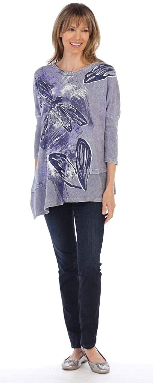 Jess & Jane Women's Dragon Dream Mineral Washed Dolman Sleeve Cotton Tunic