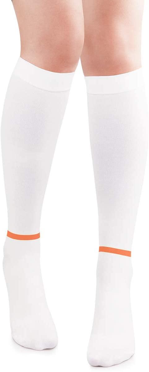 SWOLF Knee High Anti-Embolism t.e.d. Hose for Women & Men - Post Surgical Anti Embolism Knee Length White TedCompressionSupport Socks 15-20 (White, Medium)