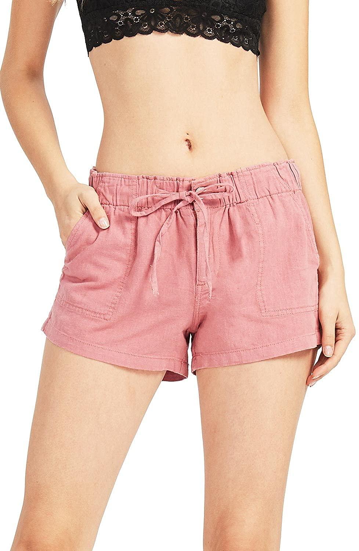 Celebrity Pink Women's Super Comfy Mid-Rise Linen Shorts