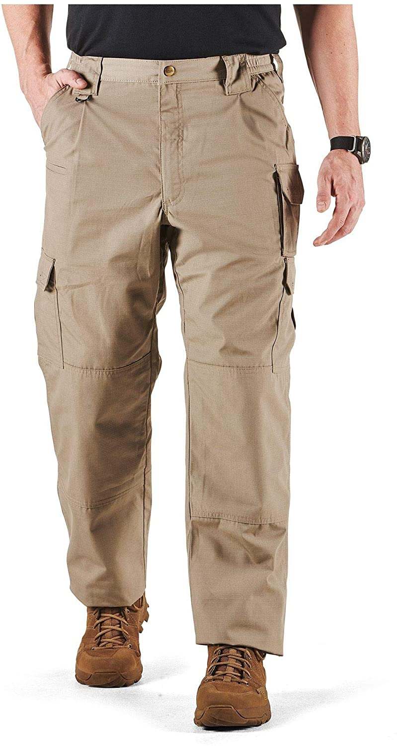 5.11 Tactical Men's Taclite Pro Lightweight Performance Pants, Cargo Pockets, Action Waistband, Stone, 30W x 32L, Style 74273
