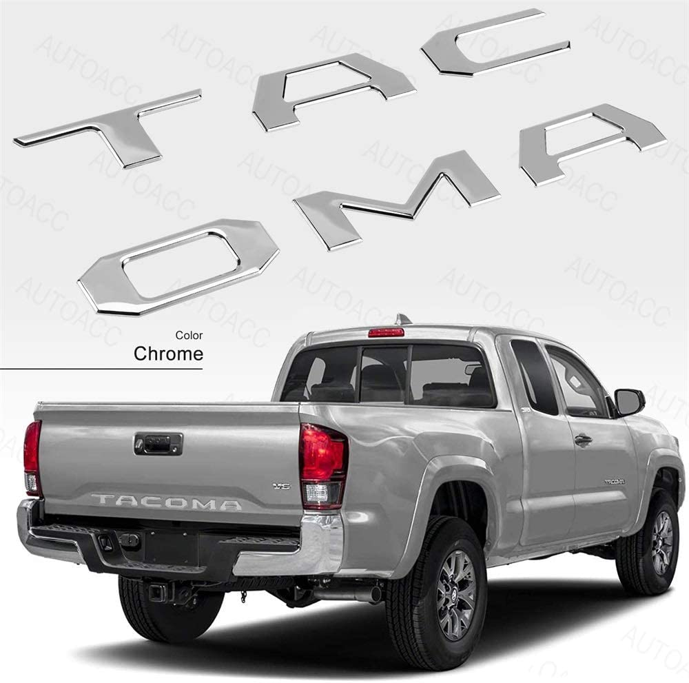 3D Raised Tailgate Insert Decal Letters for Toyota Tacoma 2016 2017 2018 2019 2020 ABS Plastic Decals with 3M Adhesive (Chrome)