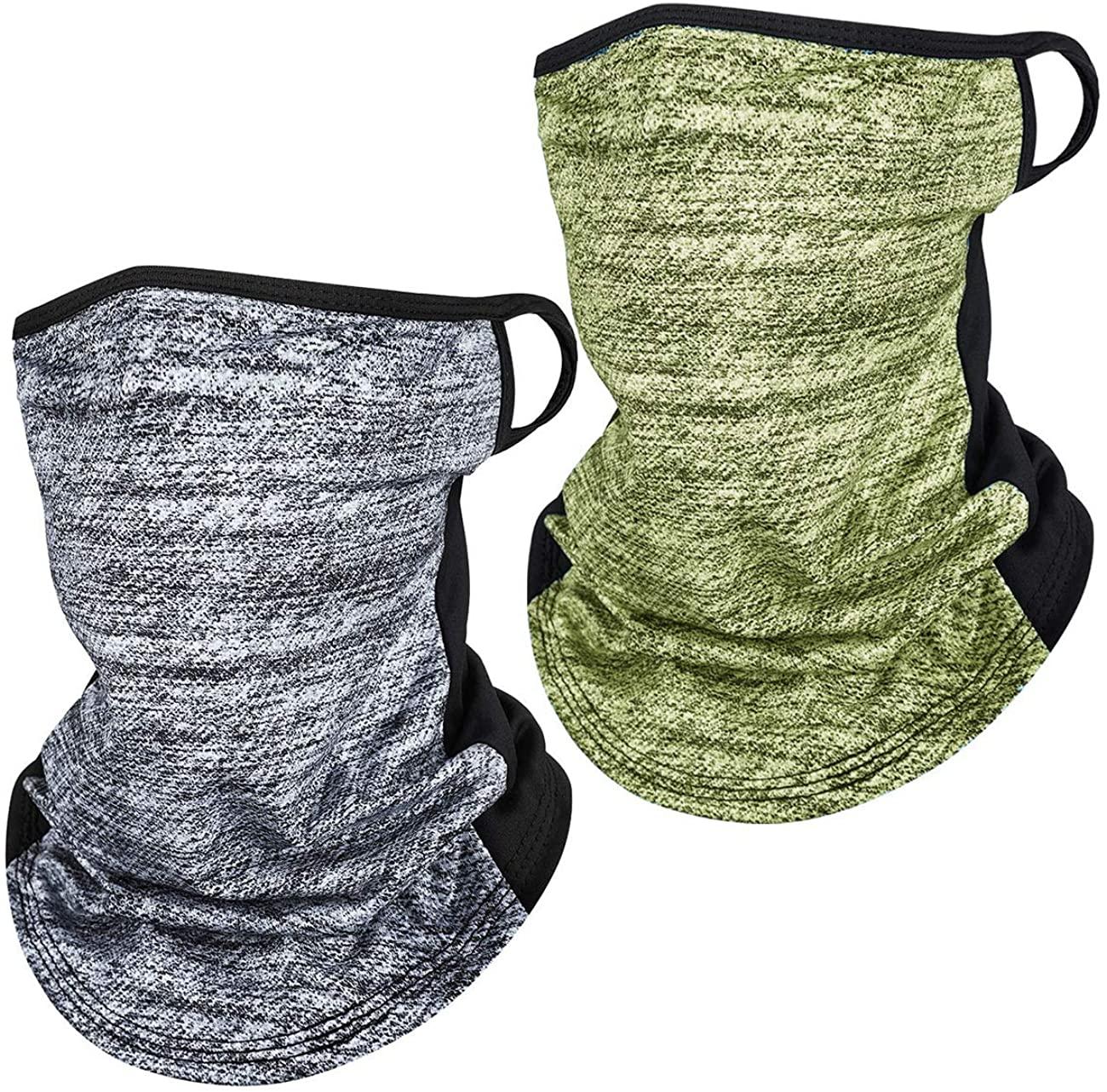 VEOBIKE 2Pcs Men Women Face Bandana Scarf Ear Loops Balaclava Headwear Neck Gaiter for Dust Wind UV Cycling Hiking