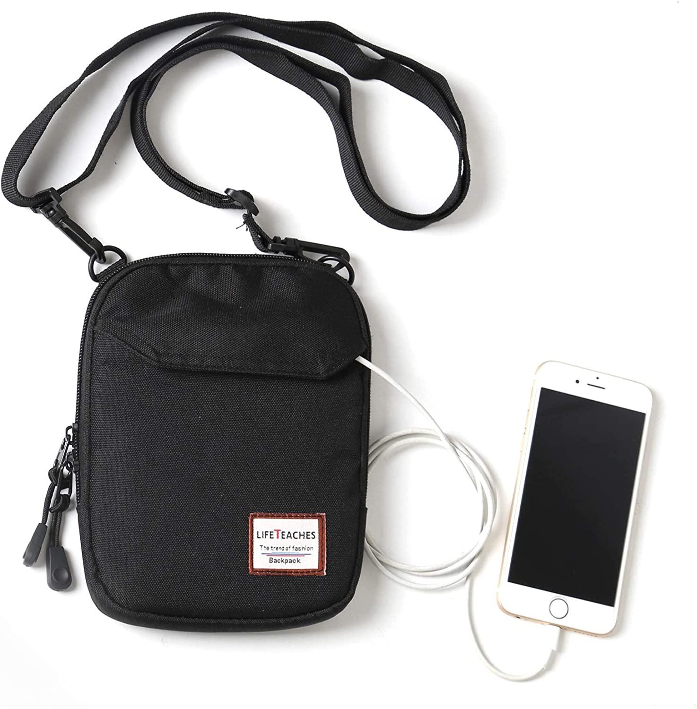 Mini Crossbody Bag Small Shoulder Bag For Men Travel Wallet Passport Holder Phone Purse Unisex, Mini Messenger Satchel Bag For Women Fanny Pack Neck Pouch Bag With Headphone Jack - Black