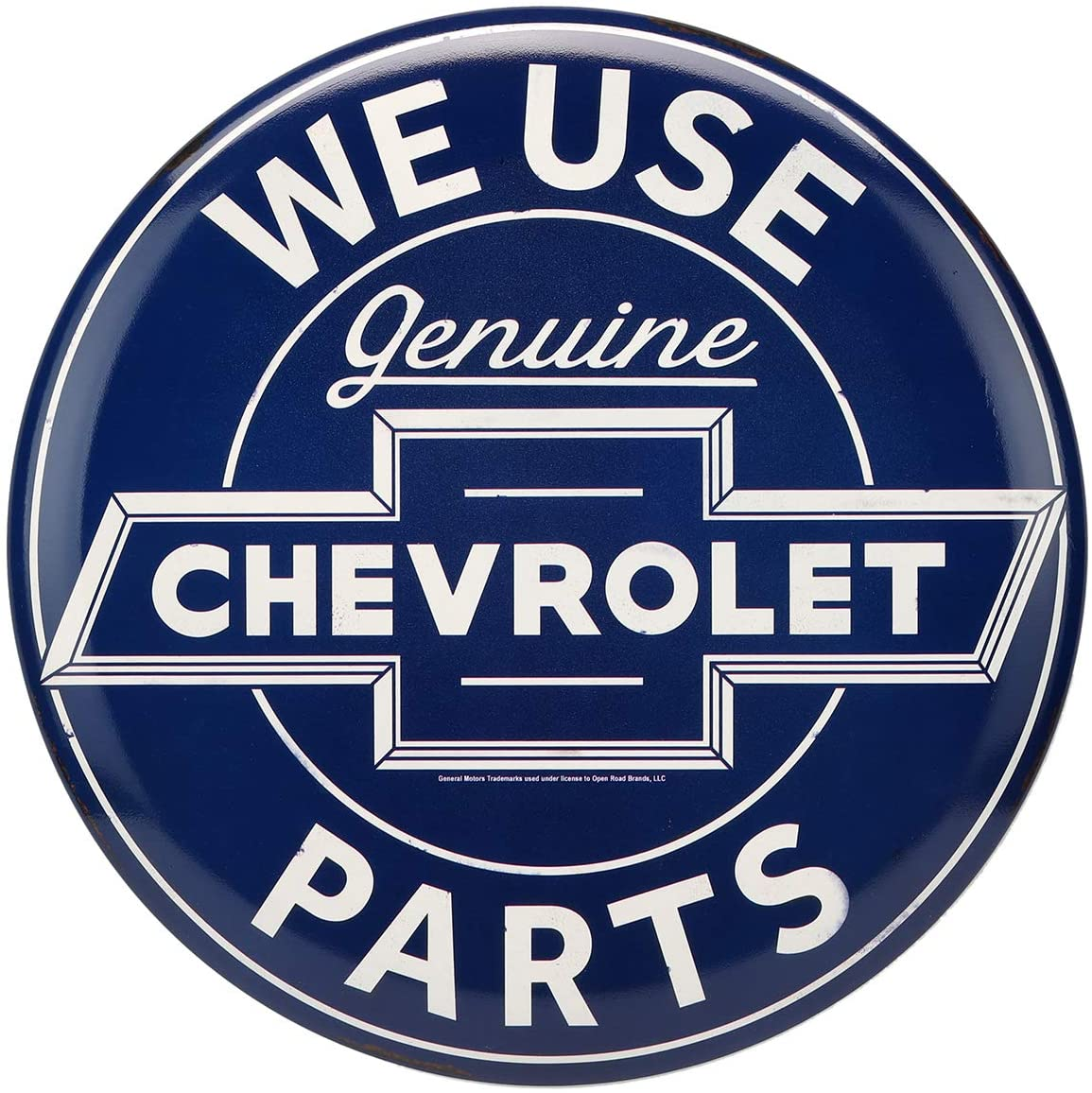 Open Road Brands Chevrolet Blue and White Metal Tin Button Wall Art - Chevrolet Officially Licensed Product - Perfect Size for Anywhere Home Decor