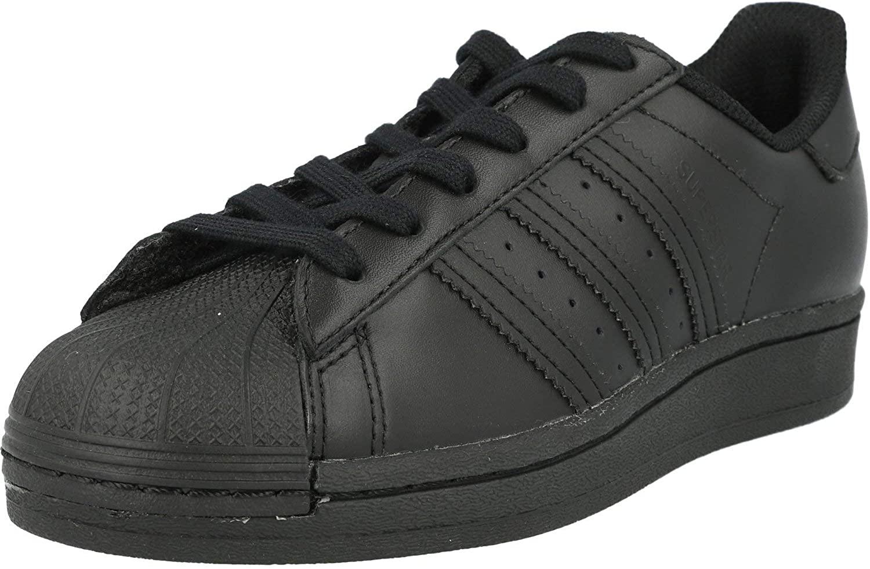 adidas Originals Superstar J Core Black Leather Junior Trainers Shoes