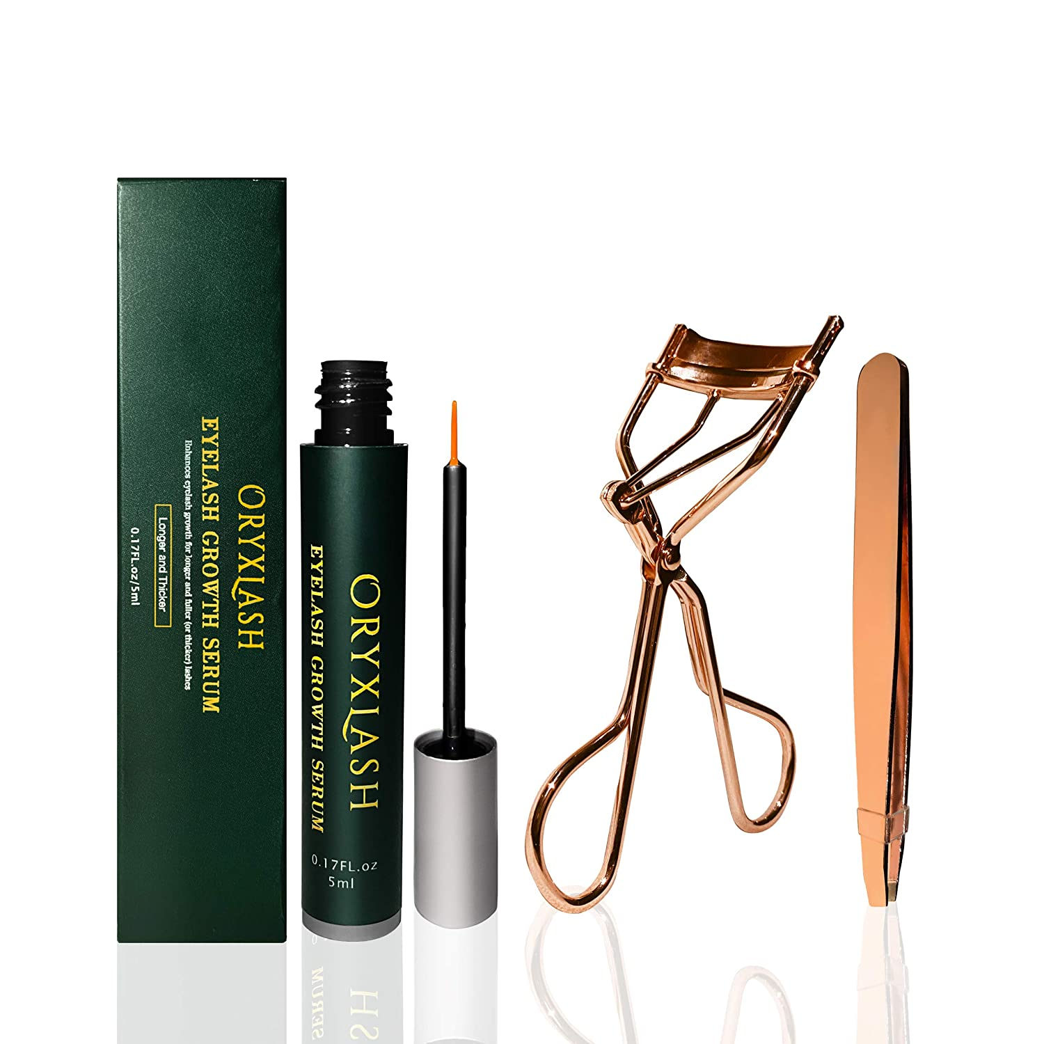 [ORYXLASH] Eyelash growth Serum 5ml with Lash Curler and Eyebrow Tweezers,Natural Plant Peptides and Nourishing Botanicals,Promote longer Hair,Thicker Hair and Reduce Dry Brittleness