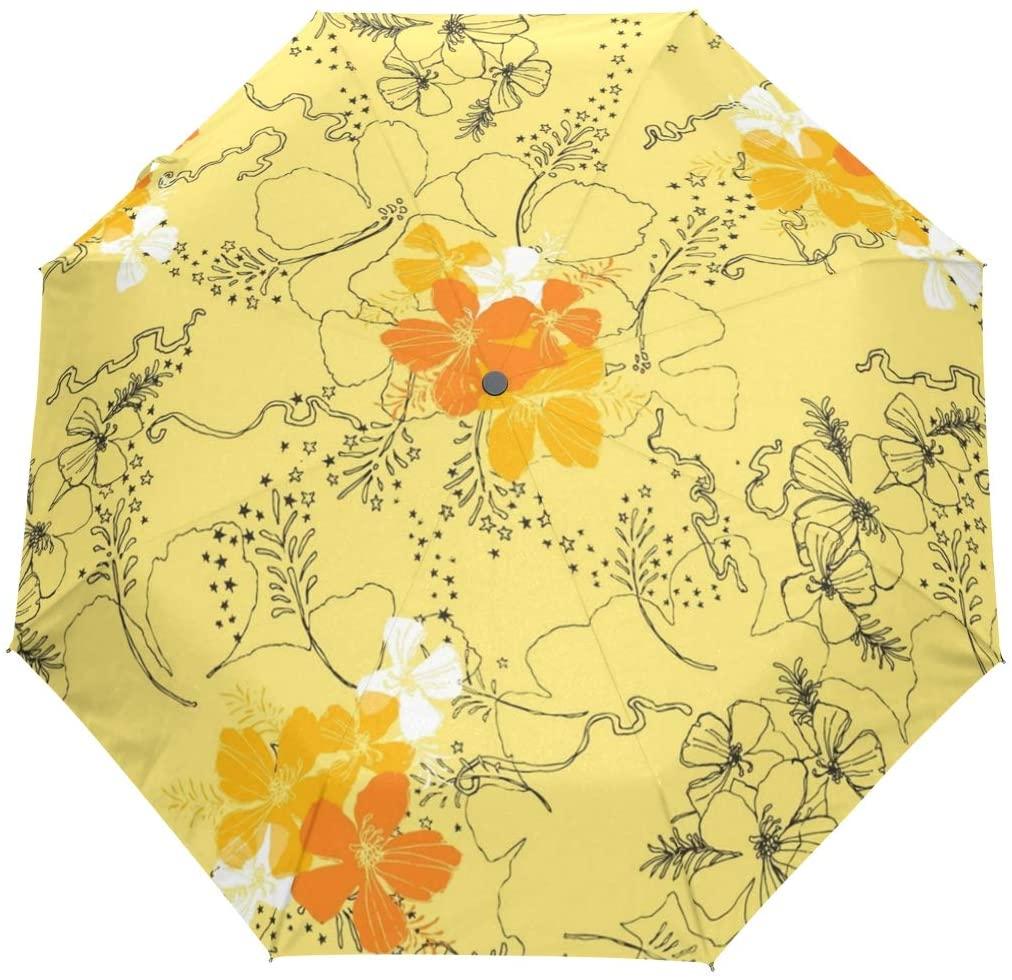Travel Umbrella Hawaii Surfboard Auto Open Compact Folding Sun & Rain Protection Umbrella with UV Protection Windproof