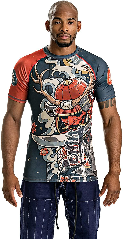 Ronin Rash Guard – Short Sleeve Shirt for Jiu Jitsu MMA Surf or Swim – Body Fit Sizes S to XXL – Powerful Design Oni Bushi Samurai Demon – Quality and Durability