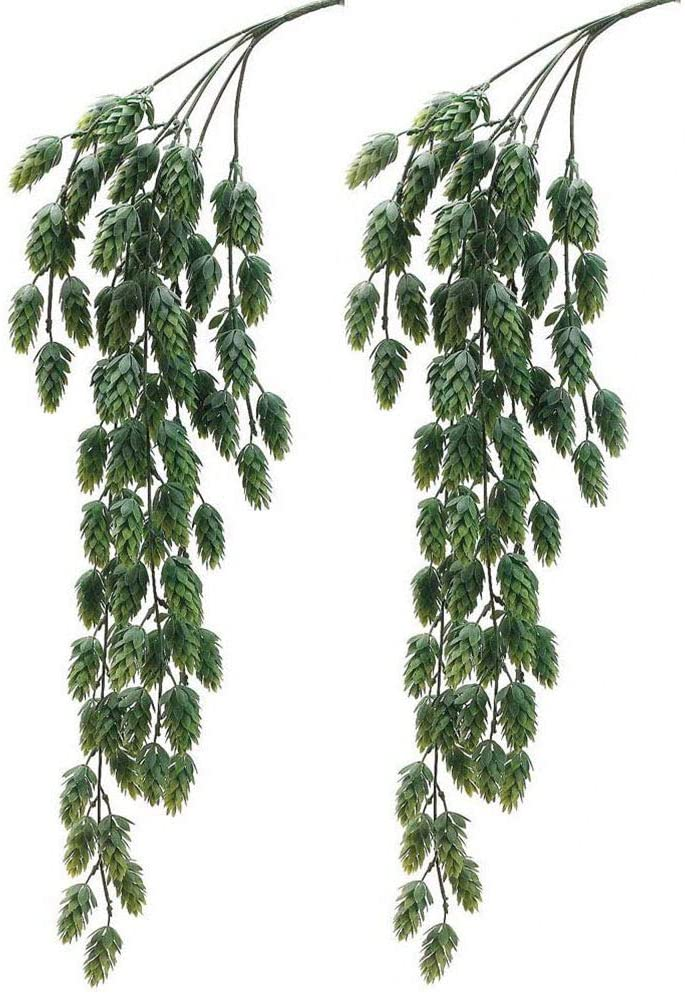 2 PCS Artificial Hops Hanging Bush Faux Hops Fake Hanging Vine Hops Artificial Hanging Plants for Party Front Porch Flower Decor