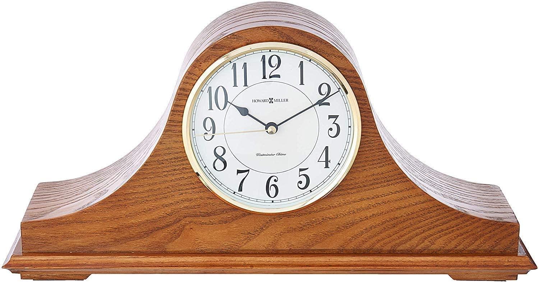 Howard Miller Nicholas Mantel Clock 635-100 – Golden Oak Wood with Quartz & Single Chime Movement