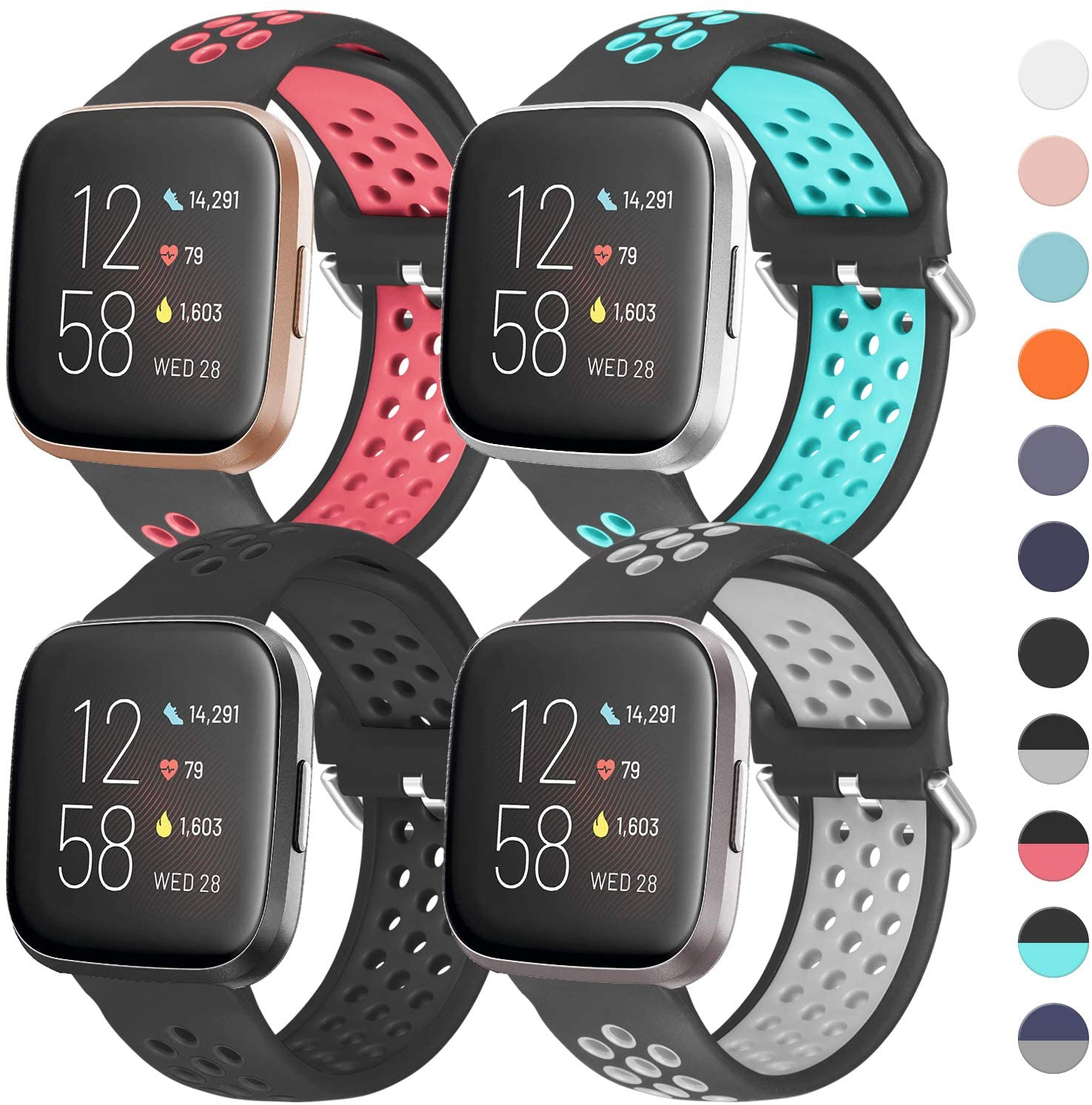 iHillon 4 Pack Compatible with Fitbit Versa Bands/Fitbit Versa 2 Bands for Men Women, Soft Silicone Sport Wristbands Compatible with Fitbit Versa Lite Bands/Fitbit Versa 1 Bands