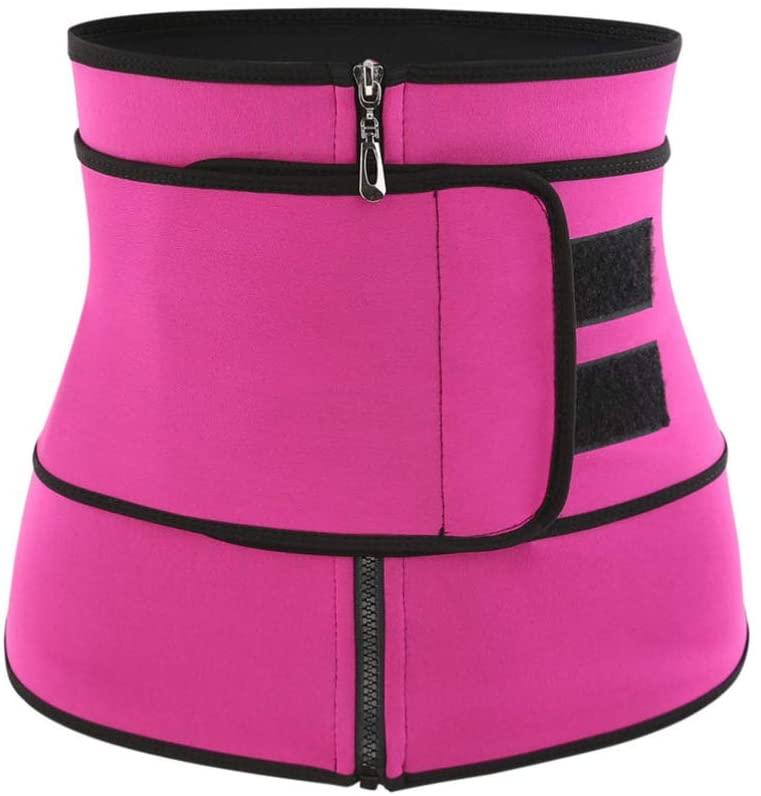 Healifty Women Hot Sweat Neoprene Workout Waist Trainer Zipper Corset Trimmer Belt Fitness Body Shaper Slimming Cincher (XXXL Rosy)