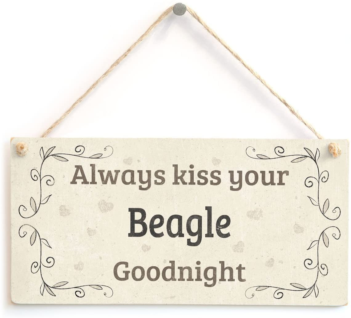 Meijiafei Always Kiss Your Beagle Goodnight - Charming Shabby Chic Style Home Accessory Gift Sign for Beagle Dog Owners 10