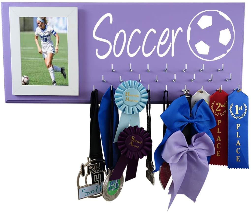 Running On The Wall Medals, Awards and trhopy Holder - Soccer Ball - Soccer Girl Gift - Soccer Accessories - hangger and Display for All Soccer Awards