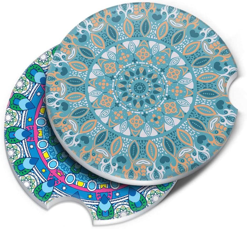 CARIBOU Coasters, Teal Peach Mandala Pattern + Bohemian Blue Mandala ROUND Ceramic Stone Car Coasters for Drinks (2.56 inches), 2pcs Set