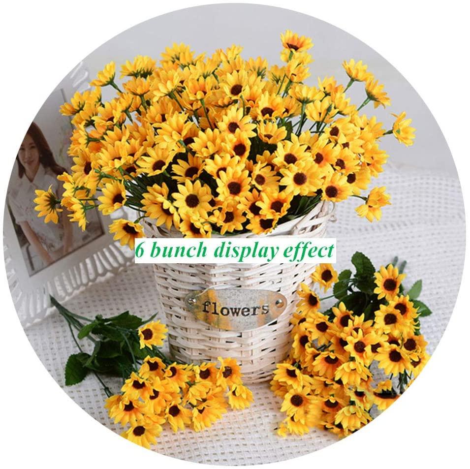 Artfen Artificial Sunflower 2 Bouquet Artificial Flowers Fake Sunflowers Floral Decor Bouquet Home Hotel Office Wedding Party Garden Craft Art Decor 13 inch