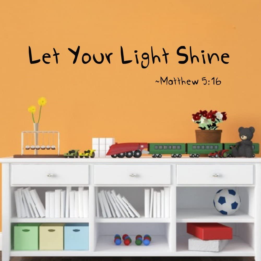 MoharWall Wall Decals Quote Baby Nursery Decor Kids Girls Room Verse Mattew Lettering Vinyl Art Sticker Decor - Let Your Light Shine