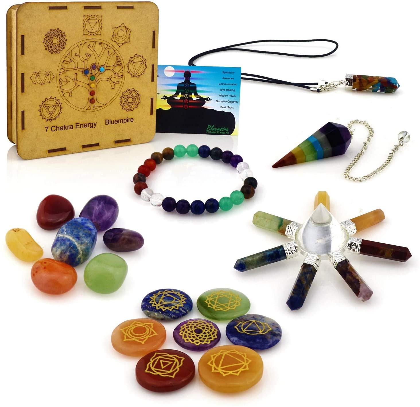 Chakra Stones Set - Crystals and Healing Stones Kit, 5 Ebooks (18 pcs)