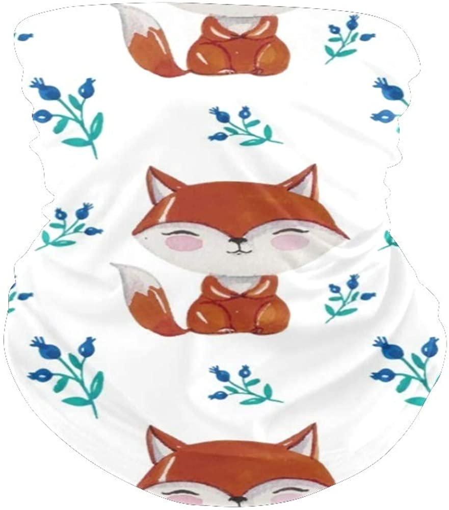 XOZOTY Balaclava Bandanas Face Mask Cover Watercolor Fox Florals Neck Gaiter for Out Doors, Dust, UV Protection