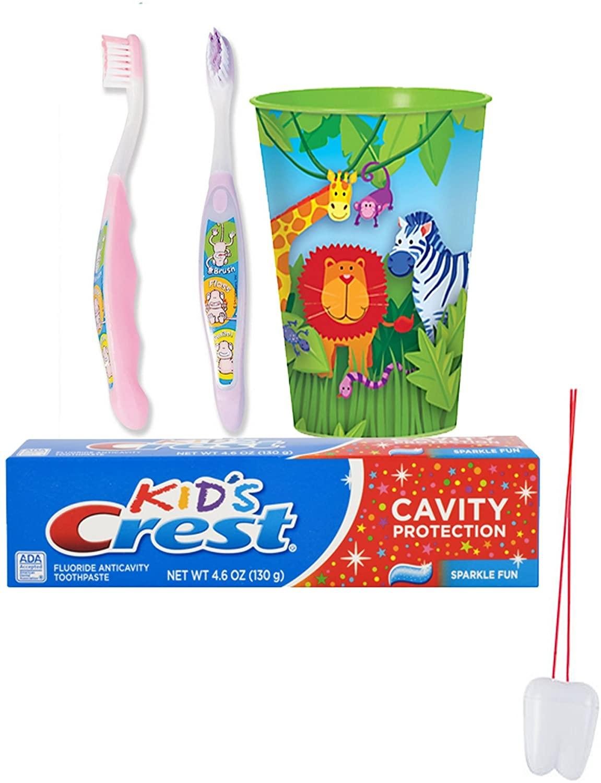 Jungle Animal's 4pc. Bright Smile Oral Hygiene Set! Girl's